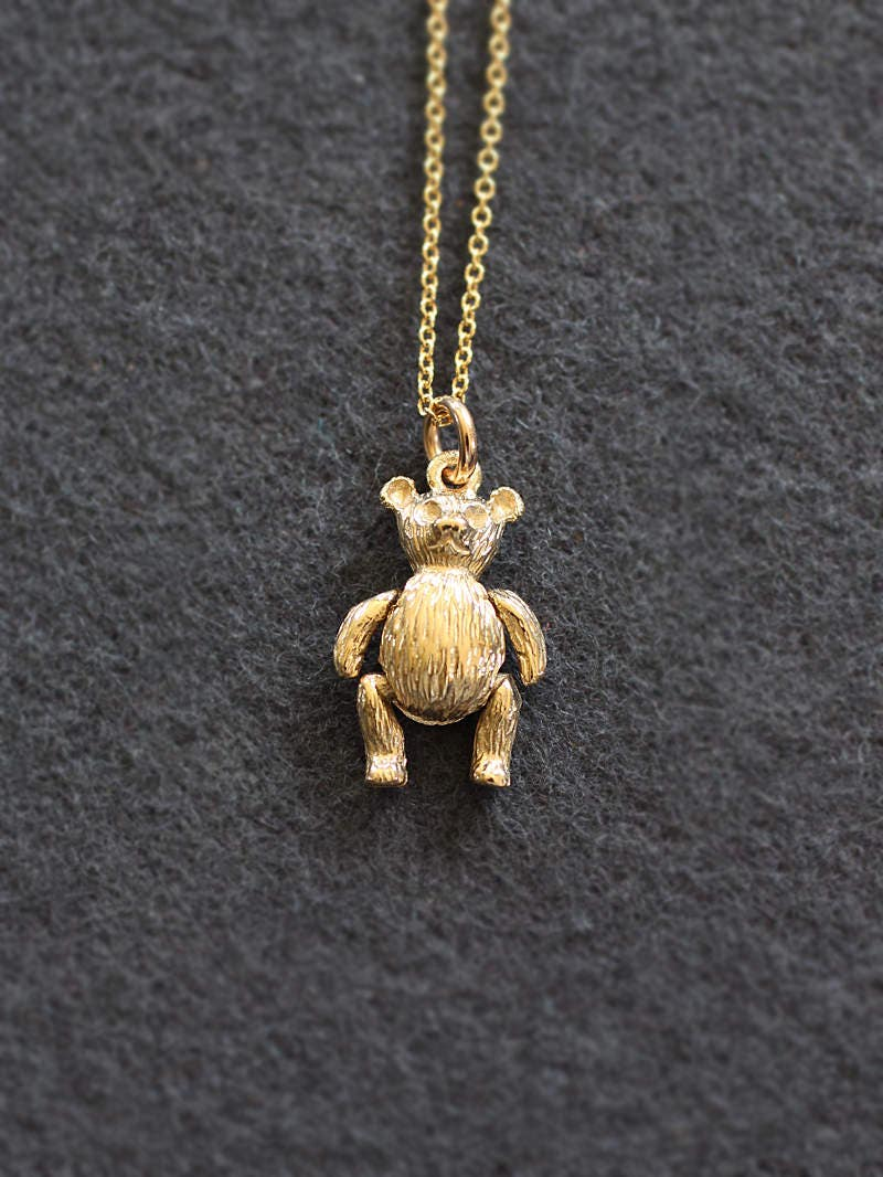 Small 9ct Gold Teddy Bear Charm Necklace Solid 9 Karat