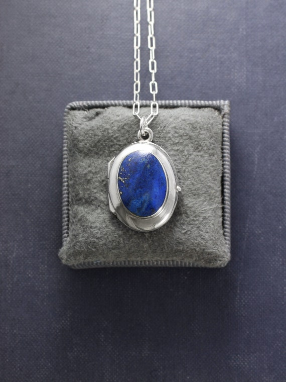 Lapis Lazuli Sterling Silver Locket Necklace, Stone Cabochon Vintage Picture Pendant - Midnight