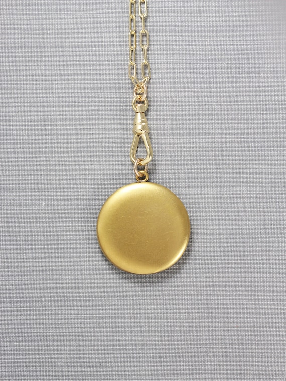 Antique Gold Locket Necklace, Plain Round Photo Pendant with Swivel Watch Fob Clasp Long Chain - Golden Pendant
