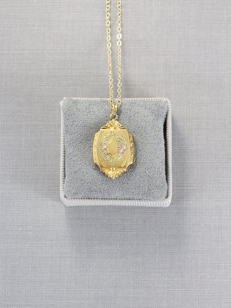 Gold Filled Locket Necklace Vintage Hayward Photo Pendant Elaborate Medallion