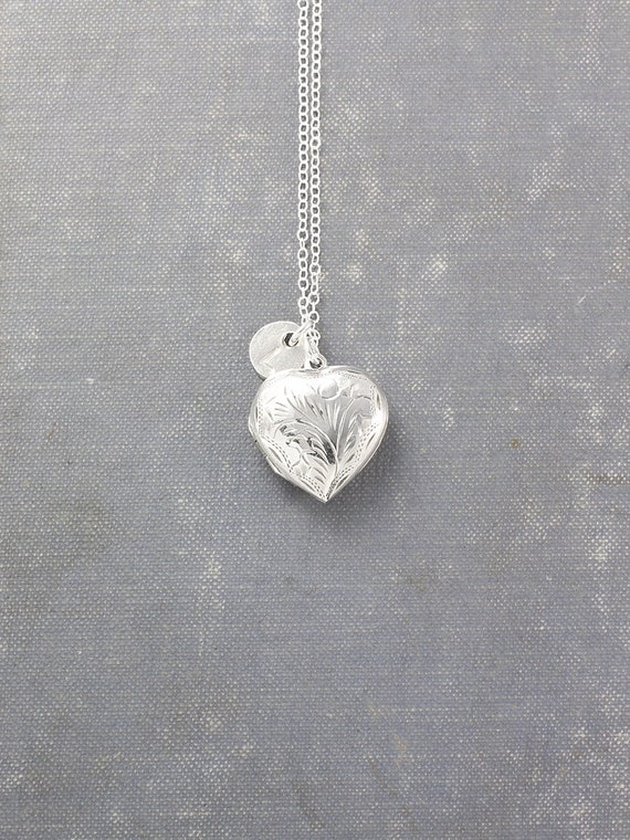Sterling Silver Heart Locket Necklace, Vintage Photo Pendant with Custom Hand Stamped Initial Charm - Forever Heart