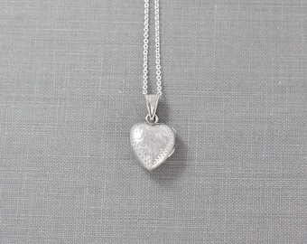 Sterling Silver Heart Locket Necklace, Tiny Vintage Charm Pendant - Drip of Love