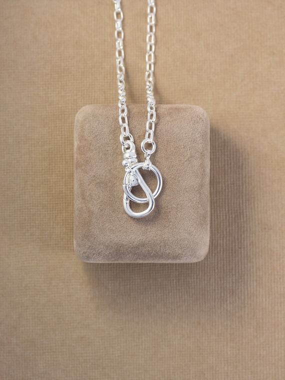 Sterling Silver Guard Chain Necklace, Swivel Clasp & Oversized Spring Ring for Charms and Pendants - Charmed