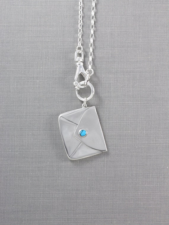 Sterling Silver Turquoise Envelope Necklace, Stamp Case on Swivel Watch Chain Style - Secret Admirer