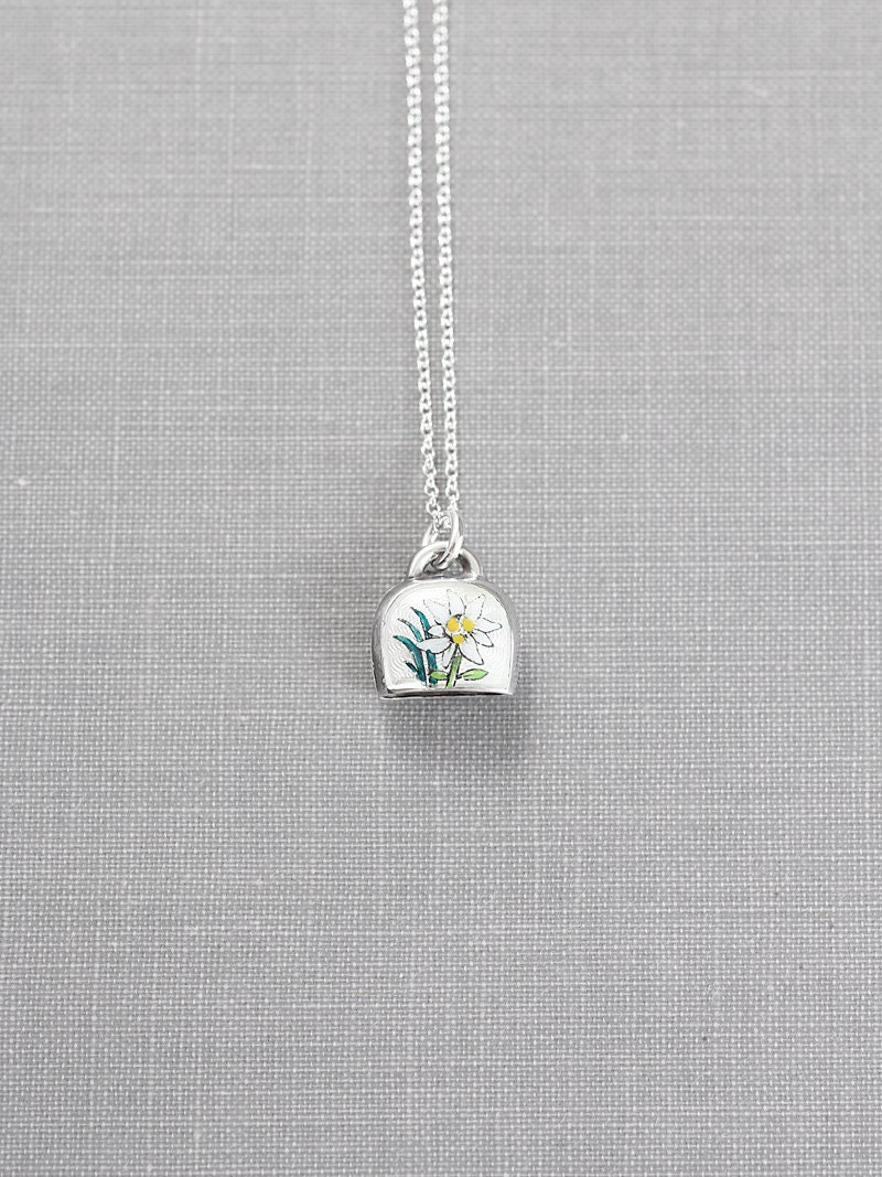 0452eebc11ae94 Vintage Sterling Silver Enamel Edelweiss Charm Necklace, Small Bell ...