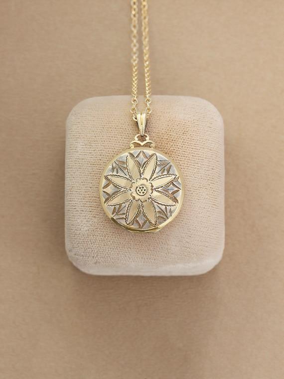 RESERVED Layaway Vintage Gold Filled Locket Necklace, Small Round Picture Locket - Sunburst