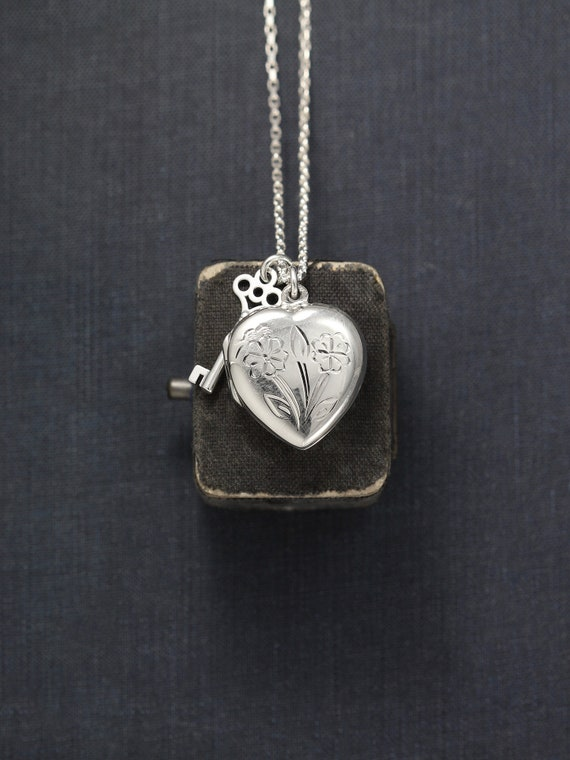 """Sterling Silver Heart Locket Necklace with Key Charm, Flower Engraved Love Pendant on Long 25"""" Chain - Secret Garden"""