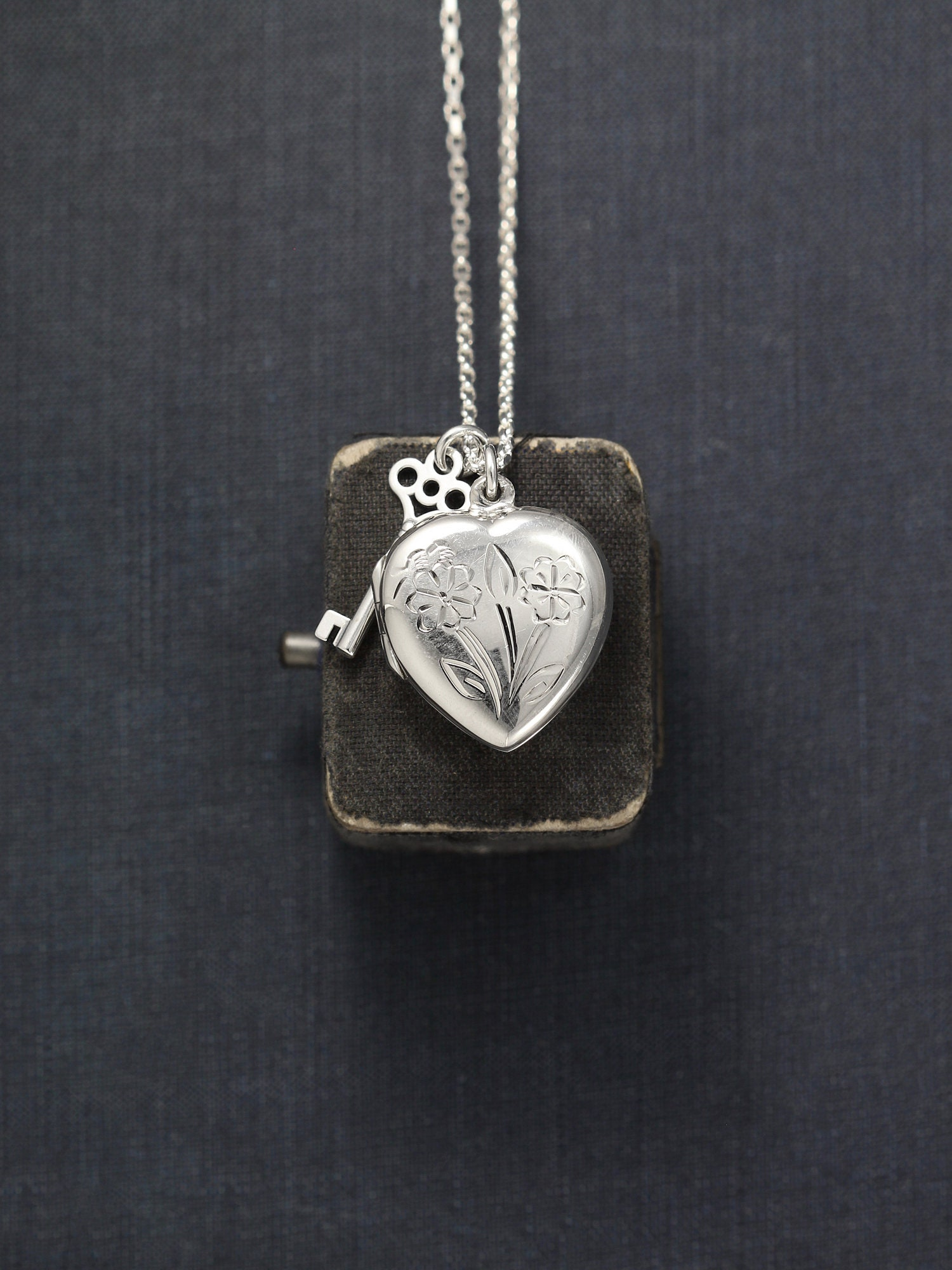 ca32cb1214 Sterling Silver Heart Locket Necklace with Key Charm, Flower Engraved Love  Pendant on Long 25