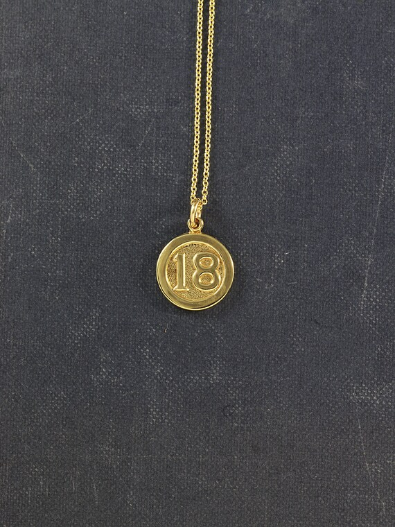 9ct Gold 18th Birthday Charm Necklace, Small Round Solid 9 Karat Yellow Gold Number 18 Vintage Pendant - Eighteen