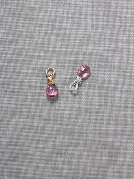 Pink Topaz Charms, Sterling Silver or 14k Gold Filled Faceted Gemstone Briolette Pendant - Add a Dangle