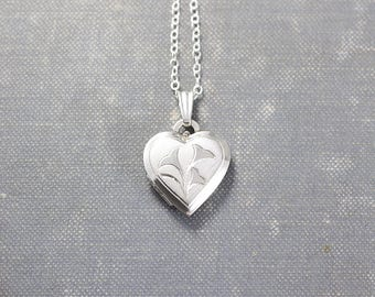 Small Sterling Silver Heart Locket Necklace, Vintage Photo Pendant - Love in Bloom
