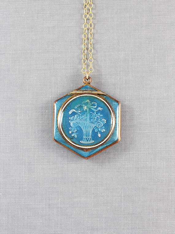 Antique Blue Enamel Compact Necklace, Basket of Flowers Hexagonal Locket - Teal Blue