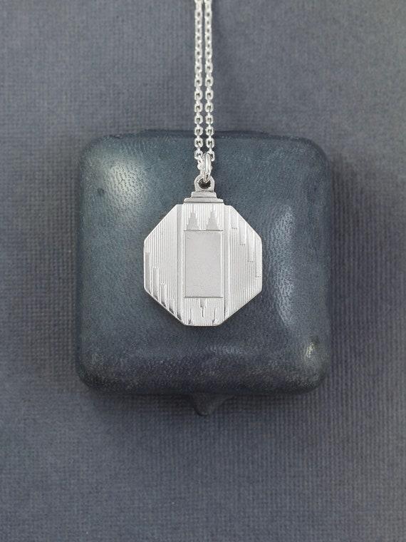 Vintage Sterling Silver Locket Necklace, Art Deco
