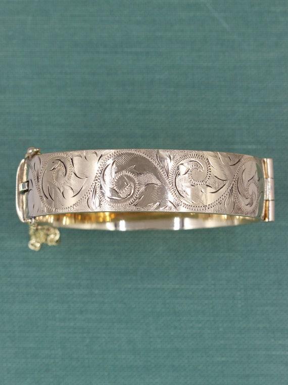 Vintage Gold Bangle Bracelet, Swirl and Leaf Engraved Gold Metal Cored Cuff - Decorative