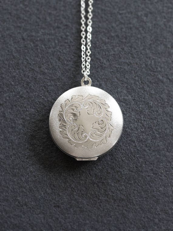 Large Round Sterling Silver Locket Necklace, Matte Border Swirl Engraved Photo Pendant - Wreath of Silver