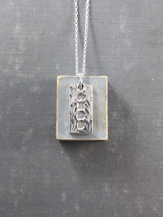 Sterling Silver Ingot Necklace, Vintage 1978 Birmingham Hallmarked Bar Pendant - Vines