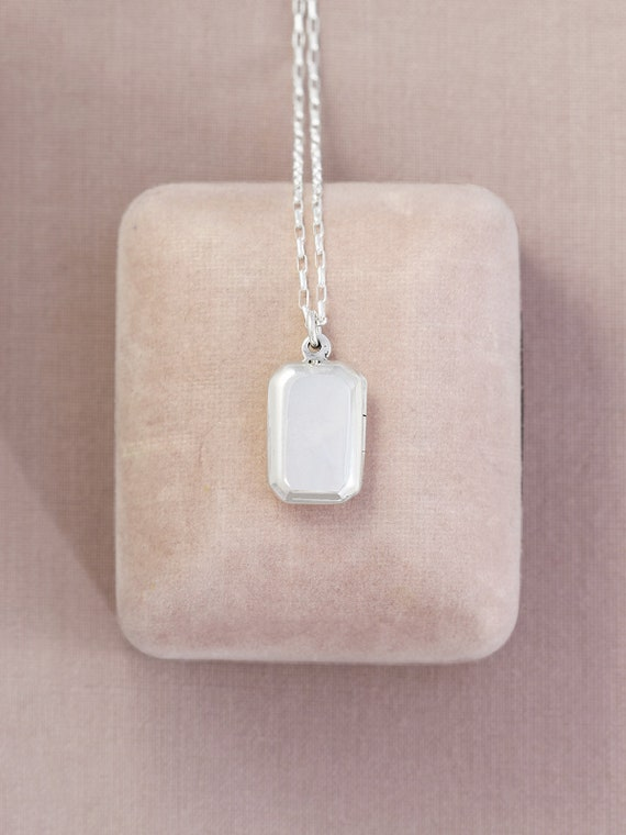 Modern Sterling Silver Locket Necklace, Small Rectangular Photo Pendant - Photo Cabinet