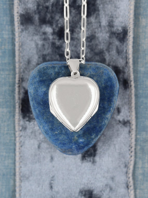 Four Photo Sterling Silver Heart Locket Necklace, 4 Picture Photograph Locket Pendant - Folded Clover