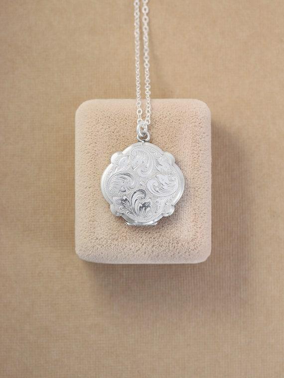 Scalloped Round Sterling Silver Locket Necklace, Unique Vintage 1970's Photo Pendant - Wispy Swirls