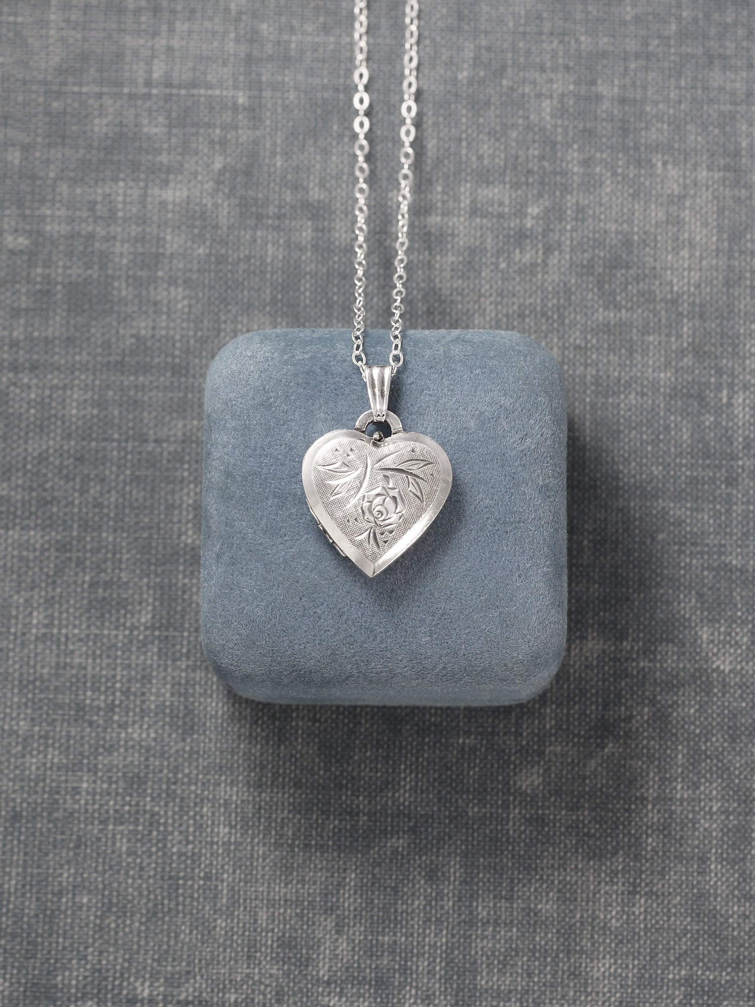 Vintage Sterling Silver Heart Locket Pendant