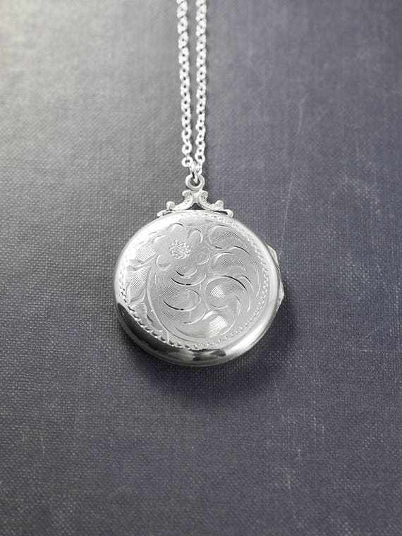 Birks Sterling Silver Locket Necklace, Large Round Vintage Floral Swirl Engraved Pendant - Family Traditions
