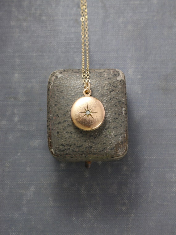 Antique Gold Locket Necklace, Tiny Round Paste Stone Star Engraved Photo Locket - Sweet Little Sparkle