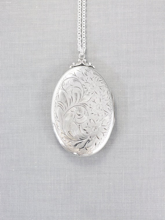 Extra Large Sterling Silver Locket Necklace, Beautiful Oval Photo Pendant - Nostalgic Beauty