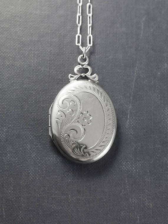 Vintage Sterling Silver Locket Necklace, Timeless Oval Flower Engraved Photo Pendant - Wrapped with a Bow