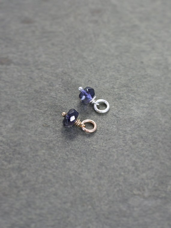 Iolite September Birthstone Pendant, Sterling Silver or 14k Gold Filled Gemstone Charm - Add a Dangle