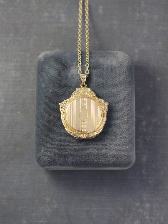 Gold Filled Locket Necklace, 12K Round Vintage Pendant with Fancy Top - Art Deco