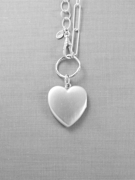 Large Sterling Silver Heart Locket Necklace with Statement Mixed Sterling Chain, Photo Pendant - Beautiful Expression