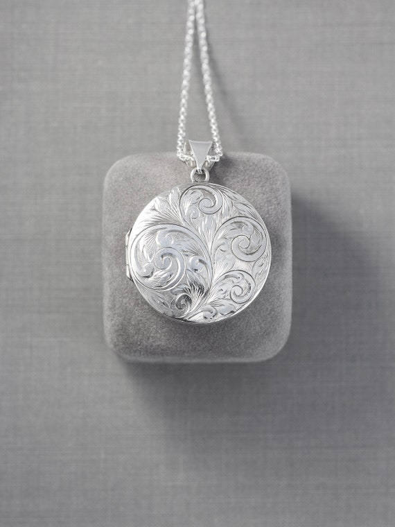 Vintage Sterling Silver Locket Necklace, Large Round Picture Pendant Full 1972 Birmingham UK Hallmarks - Scrollwork