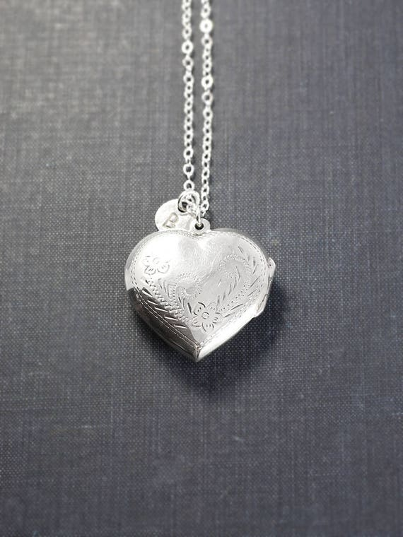 Sterling Silver Heart Locket Necklace w/ Your Choice Initial Charm - Whimsy