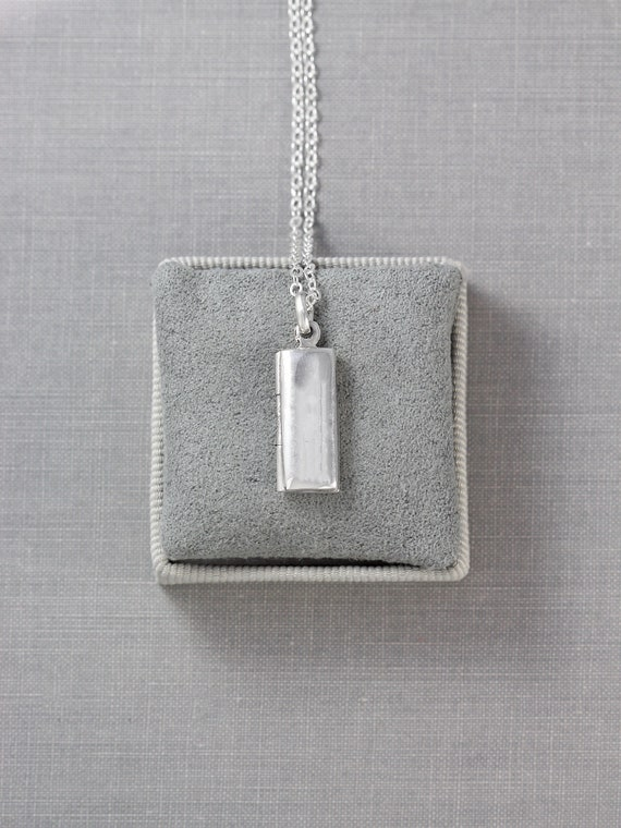 Modern Sterling Silver Locket Necklace, Extra Long Chain Pendant Simple Minimalist - Tiny Book