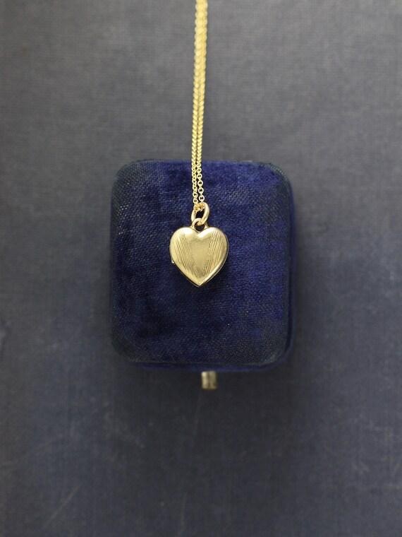 Tiny Gold Filled Heart Locket Necklace, Rare Vintage Pattern Engraved Pendant - Little Bit of Love