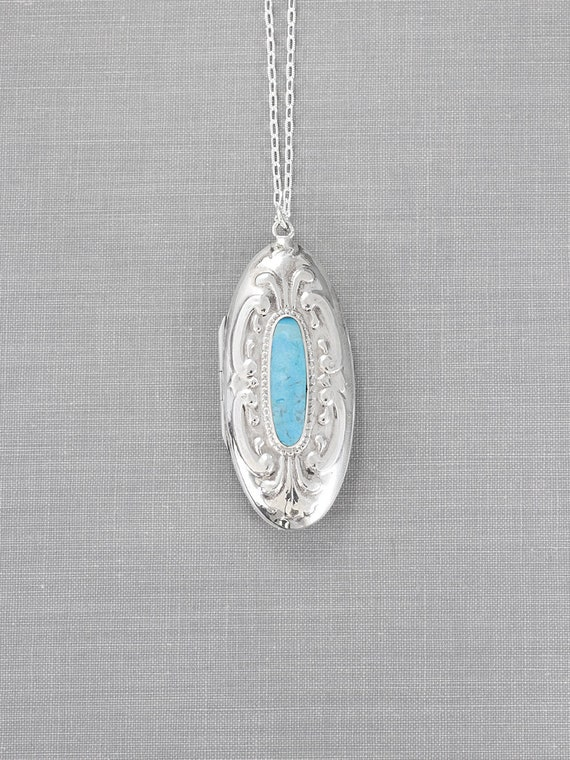 Sterling Silver Turquoise Locket Necklace, Large Embossed Long Oval Vintage Pendant - Aqua Kissed