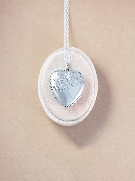Multi Photo Sterling Silver Heart Locket Necklace, Vintage 4 Picture Photograph Locket Pendant - Family Love