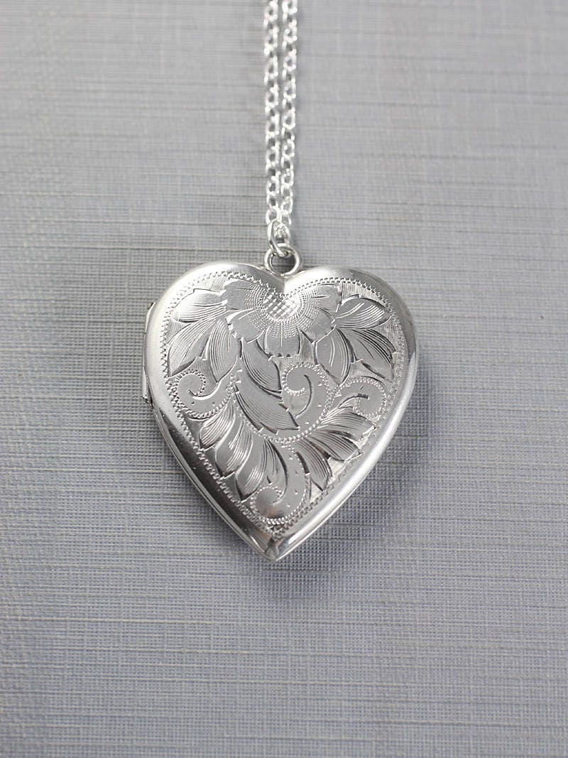 large sterling silver heart locket necklace vintage flower leafy