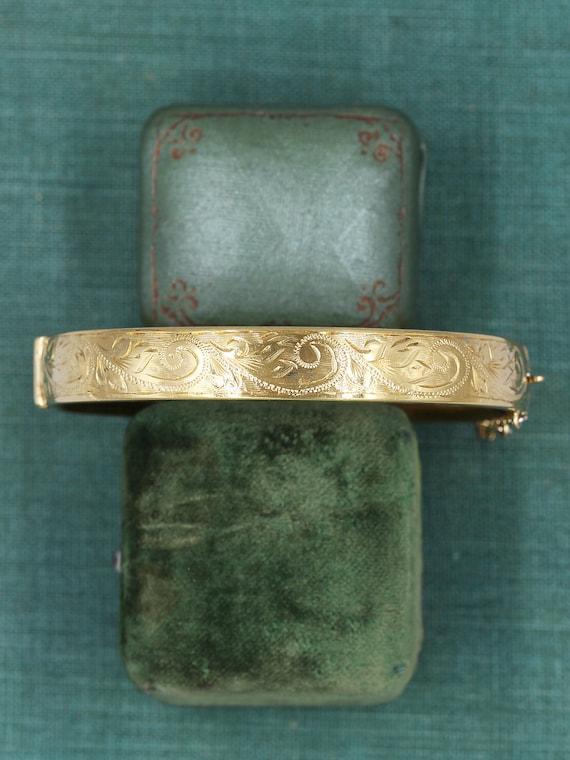 Vintage Gold Bangle Cuff Bracelet, Swirl Engraved Gold Metal Core - Intricate Detail