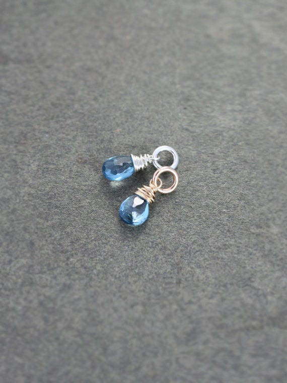 London Blue Topaz Charm, Sterling Silver or 14k Gold Filled Wire Wrapped Briolette December Birthstone - Add a Dangle