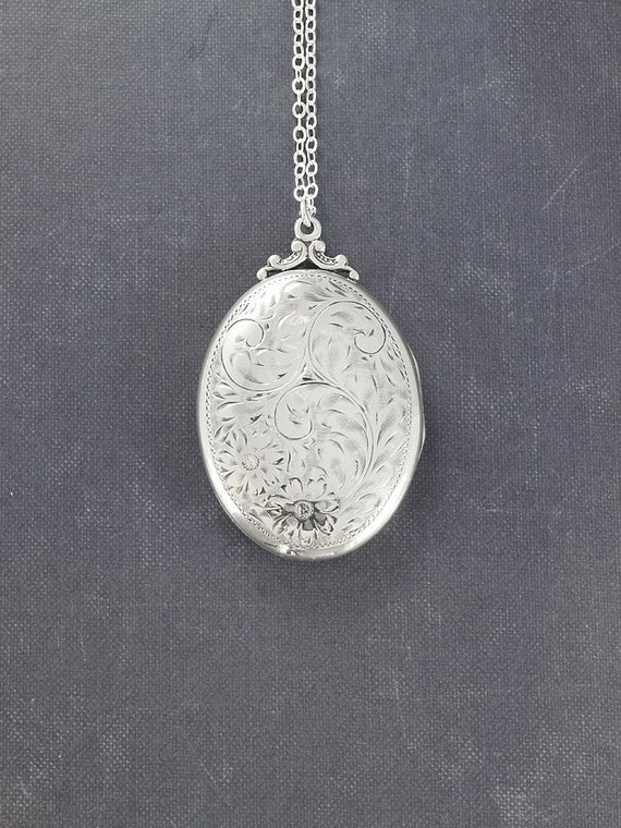 Large Oval Sterling Silver Locket Necklace, Vintage Photo Pendant - Memories