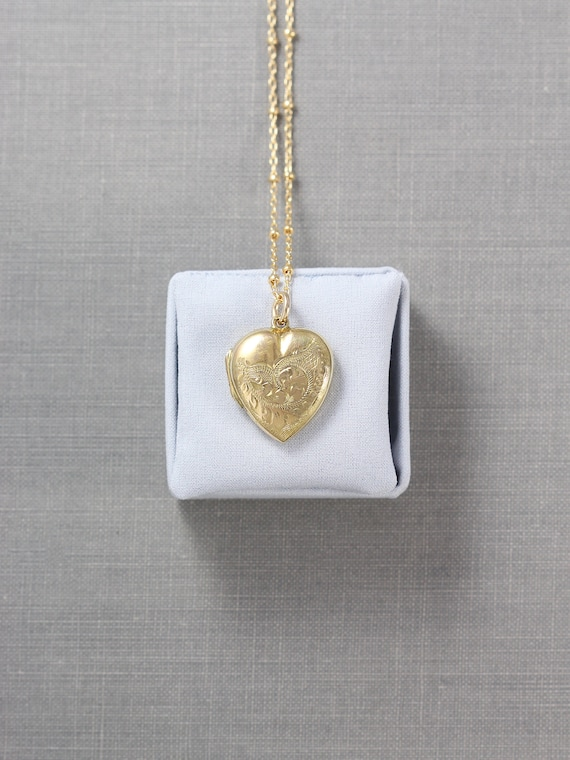 Antique Gold Heart Locket Necklace, 9ct Back and Front Hand Chased Vintage Photo Pendant - Delightful