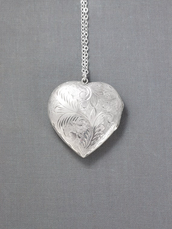 Extra Large Heart Sterling Silver Locket Necklace, Vintage Big Heart Picture Pendant - Heart Full of Love