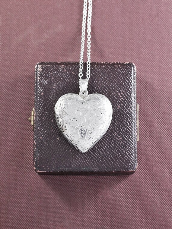Large Sterling Silver Heart Locket Necklace, Scroll Engraved Double Side Photo Pendant Design - Vintage Love Charm