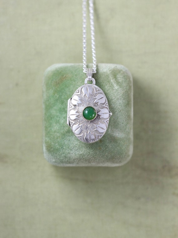 Small Oval Sterling Silver and Green Gemstone Locket Necklace, Vintage Tulip Embossed Photo Pendant - Bloom and Grow