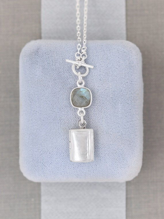 Sterling Silver Locket Necklace with Labradorite Gemstone, Tiny Book Photo Pendant - Blue Flash
