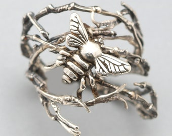 Silver Twig Ring Bee Ring Sterling Silver Honey Bee Ring Silver Bee Ring Queen Bee Ring