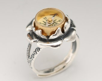 Silver Compass Ring Sterling Silver Flower Ring Compass Ring Sterling Silver Compass Ring