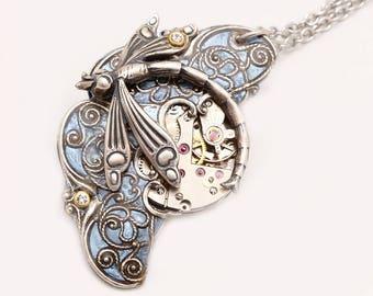 Steampunk Pendant Steampunk Necklace Steampunk Dragonfly Steampunk Jewelry Dragonfly Necklace Silver