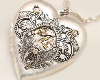 Silver Heart Locket Necklace Heart Necklace Silver Heart Locket Necklace Heart Silver Heart Steampunk Heart
